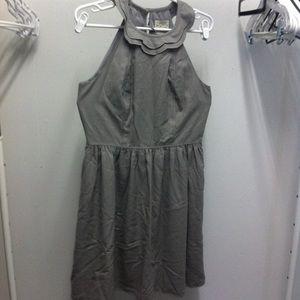 Anthropologie Gray Party Dress Scalloped Neckline